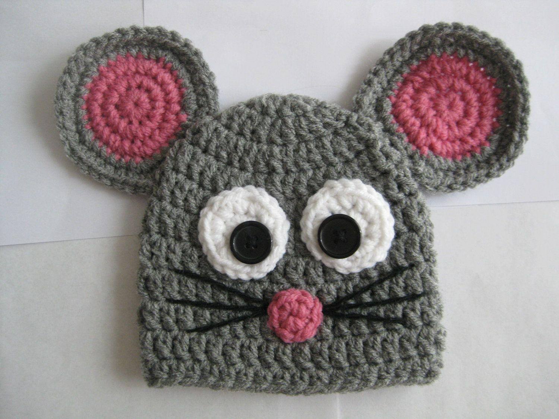 Crochet Mouse Hat 1200 Via Etsy Crochet Hat Crochet