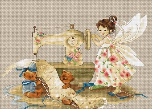 Cross Stitch Kit Beautiful Girl 14 Count Embroidery Set Needlework People Fairy