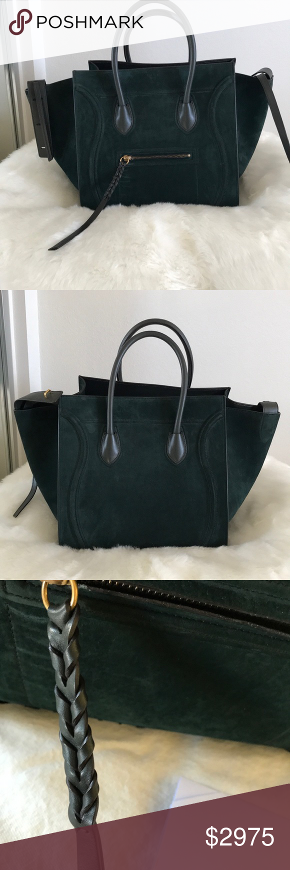 e525930b78 Authentic Celine Phantom in Suede green Authentic Celine handbag in green  suede. This is an amazing neutral bag in a difficult to find color.