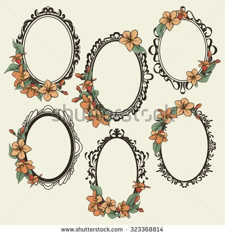 set of vintage oval frames decorated with flowers and leaves Art