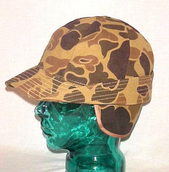 Mens Vintage Camouflage Duxbak Hunters Cap Ear Flap by AuntLenoras Hunting  Hat cc1fad0fb80