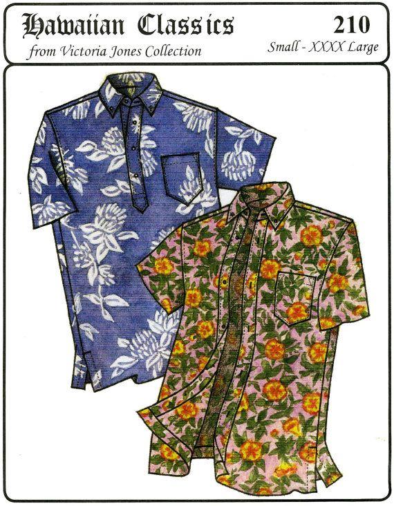 Hawaiian Shirt Pattern : hawaiian, shirt, pattern, Men's, Classic, Hawaiian, Businessman's, Aloha, Shirt, S-4XL, Sewing, Pattern,
