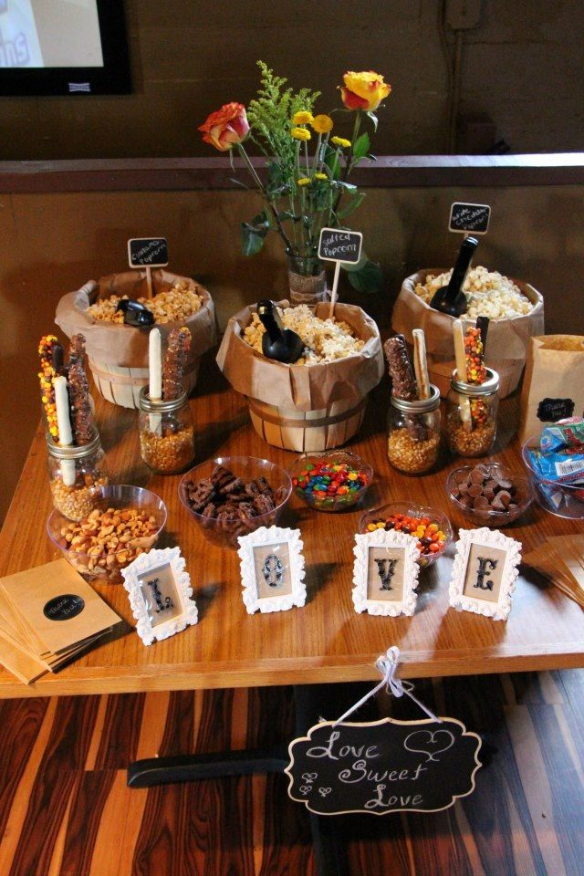 Popcorn bar! This was at my wedding shower but is a great idea for any kind of party.