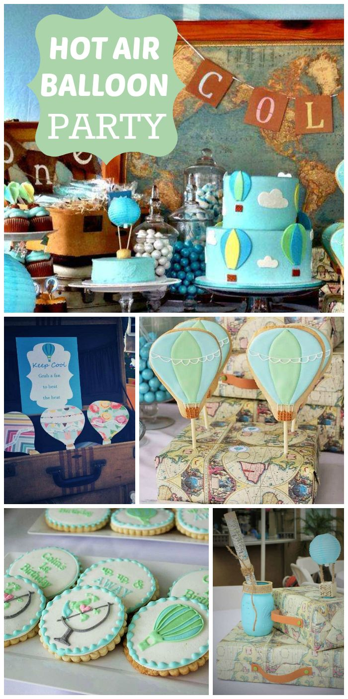A vintage Hot Air Balloon boy birthday party with a map