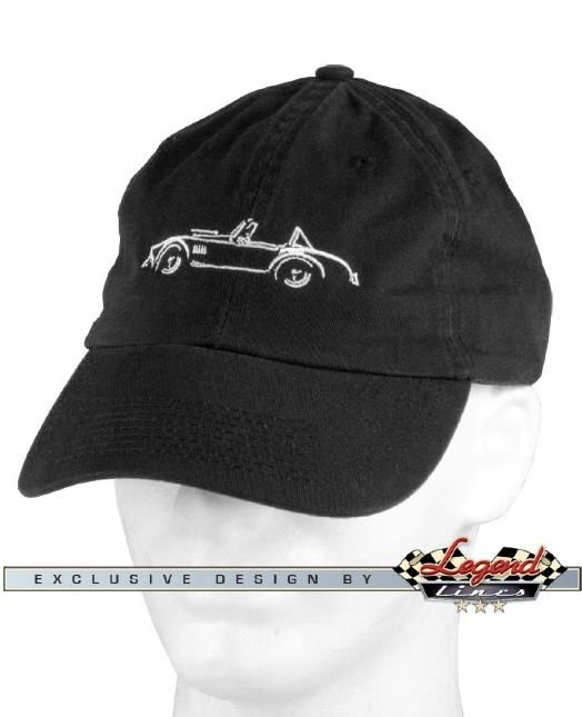 1965 AC Cobra Replica - Body Curves Cap    The precise yet artistic graphic lines capture the profile of this mythic roadster. This stylish design pays tribute to body curves of the most iconic sports car, embroidered on unstructured  washed twill cap.