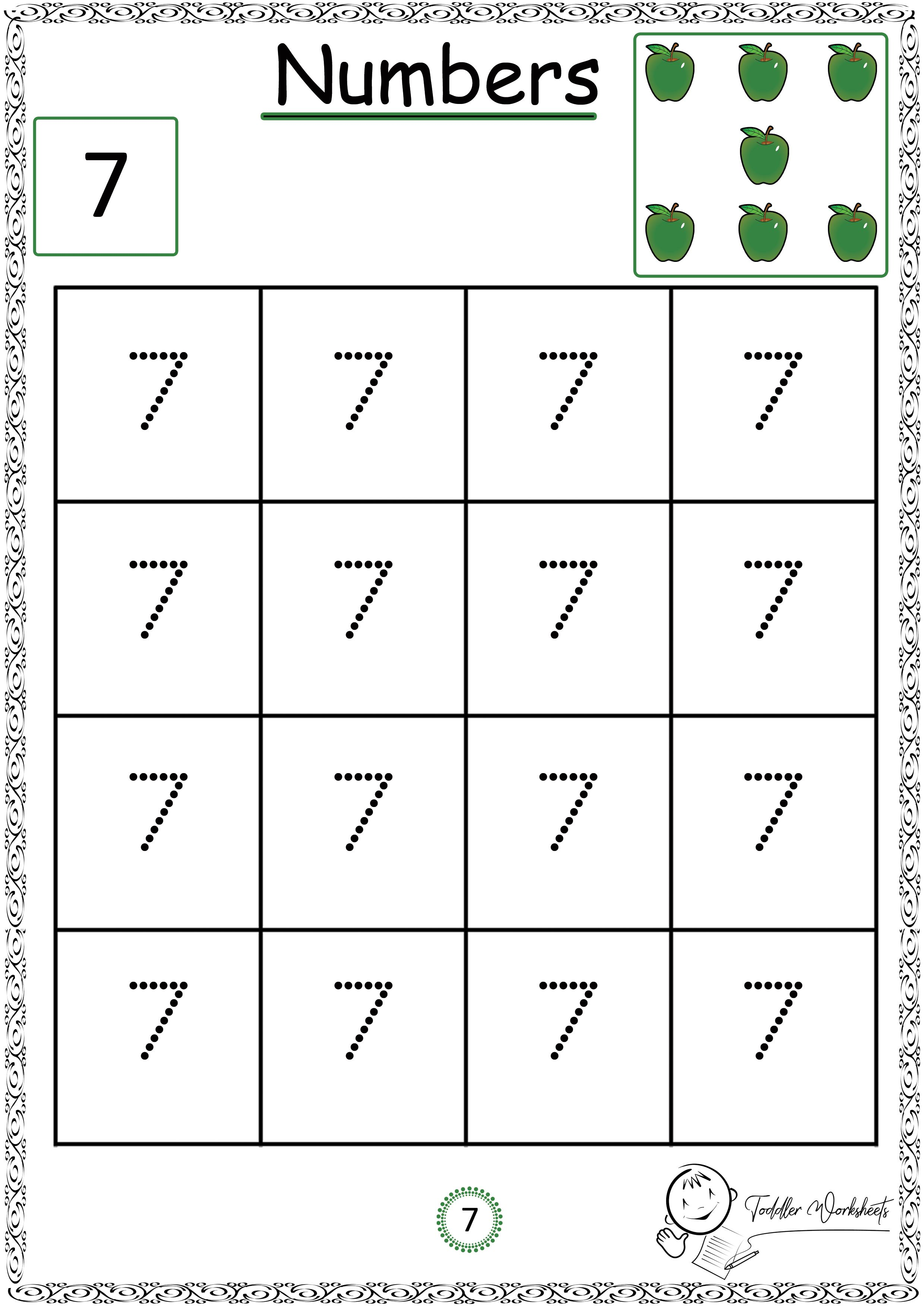 Free Preschool Numbers Worksheets
