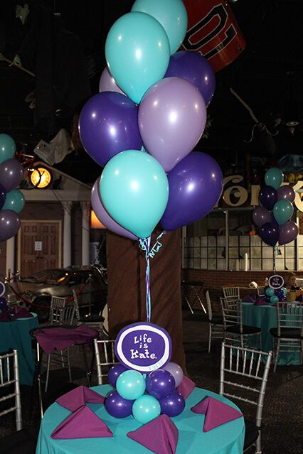 Purple turquoise balloon centerpiece