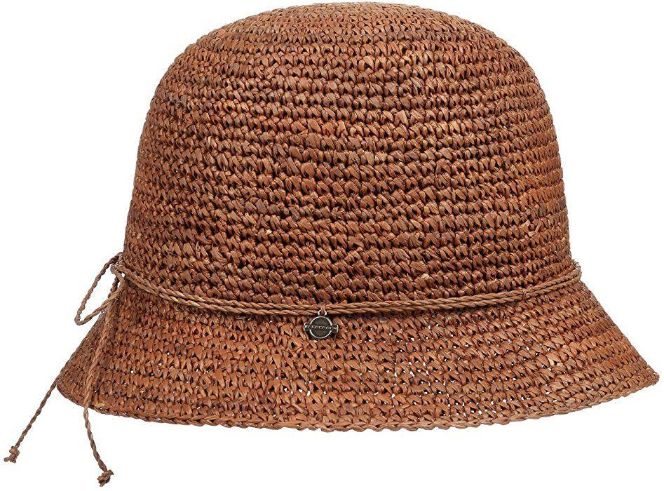 0c95089e21d27 Seeberger Jessie Cloche Strohhut Strohhüte Aufschlaghut (One Size - braun)   Amazon.de