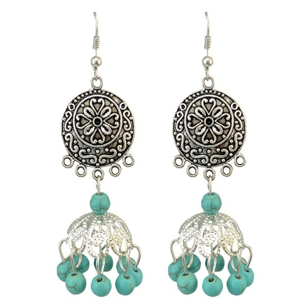 2.92$  Watch here - http://di5k7.justgood.pw/go.php?t=184896401 - Pair of Boho Style Embossed Faux Turquoise Bead Tassel Drop Earrings For Women 2.92$