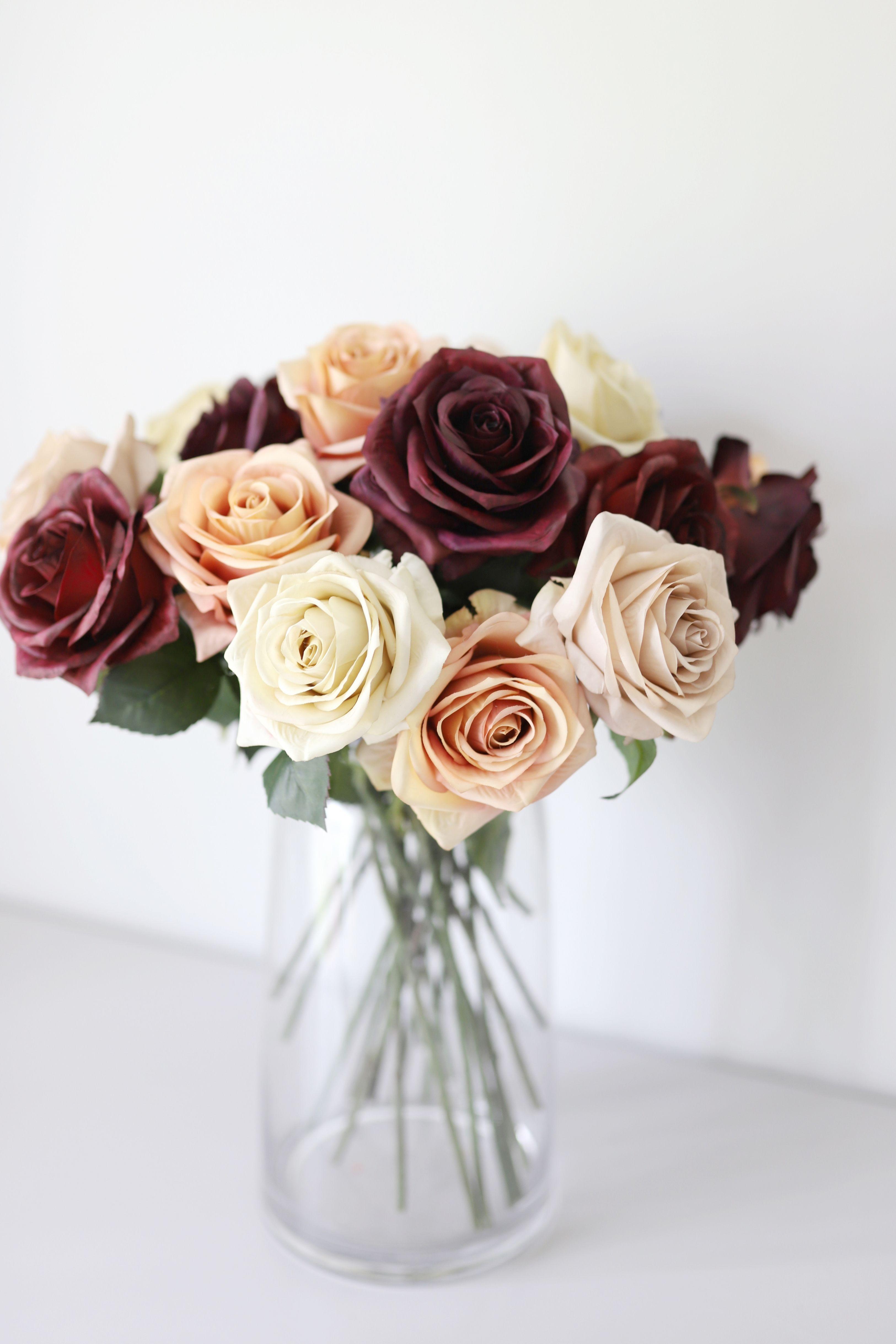 Burgundy Fake Flowers Rose In 2020 Rose Flower Arrangements Fall Flower Wedding Bouquets Diy Wedding Flowers Bouquet