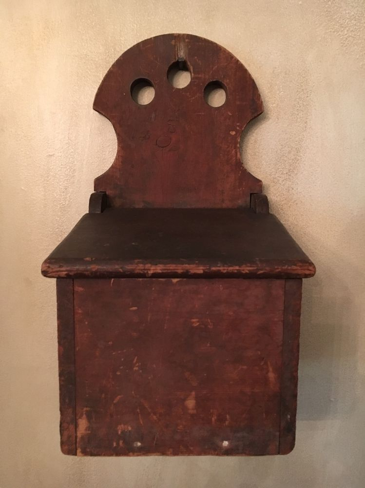 Superior 19th C Early Old Antique Primitive Wooden Wood Wall Candle Storage Box Red  Paint