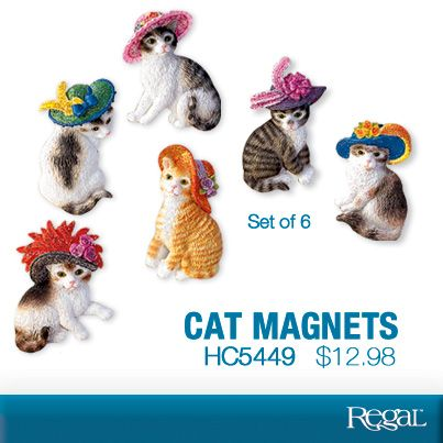 Cat Magnets Set Of 6 From Regal Adorable Cats With Jaunty Hats