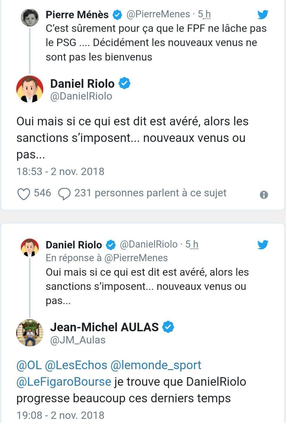 Jean Michel Aulas et Daniel Riolo réclament des sanctions