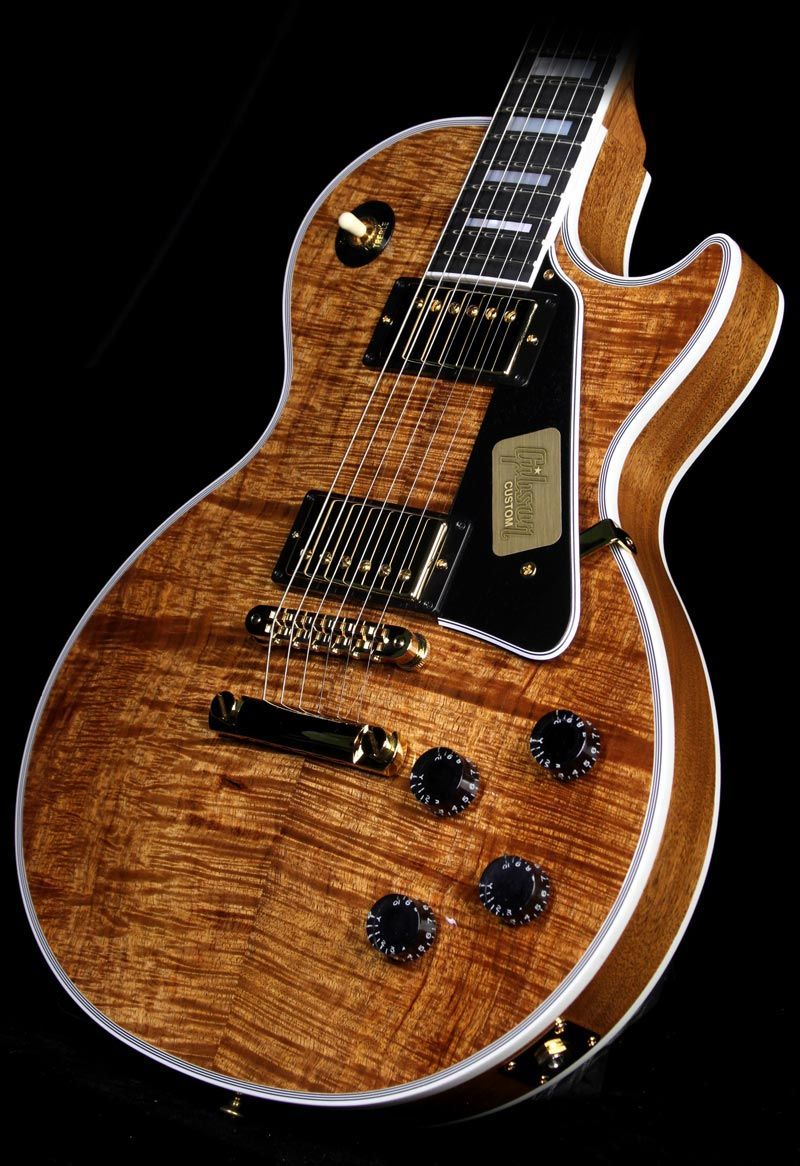 gibson custom shop les paul custom koa top electric guitar natural koa electric guitars. Black Bedroom Furniture Sets. Home Design Ideas