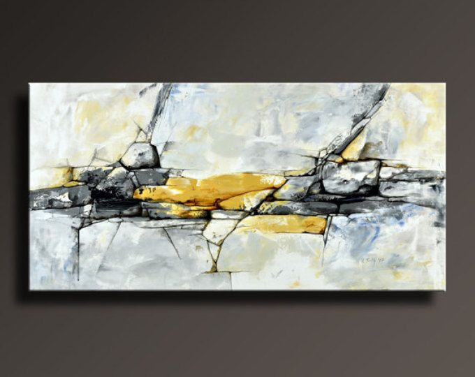 Original abstract painting black white yellow gray blue contemporary abstract modern canvas art 48x24 wall decor unstretched abf09i3