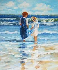 Afbeeldingsresultaat voor schilderij spelende kinderen op strand