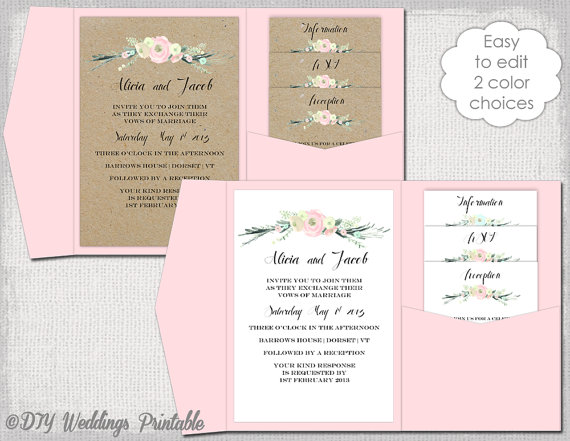 Pocket Invitation Template DIY pocketfold wedding invitations