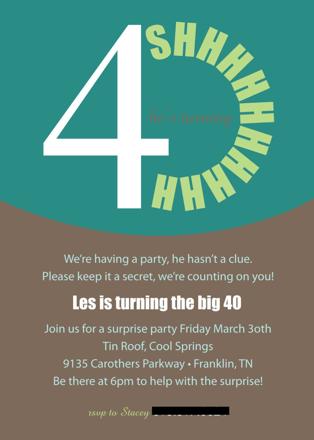 40th Surprise Birthday Invitations Printable