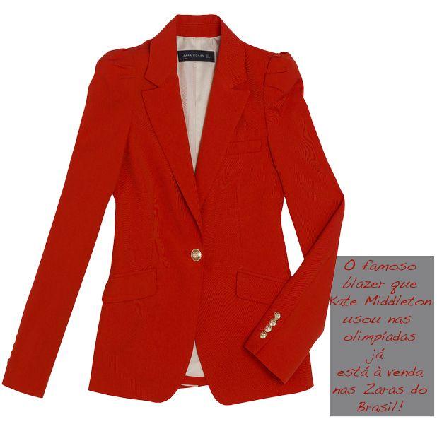 cf8ad7ce41 Achei na Zara  o blazer vermelho de Kate Middleton