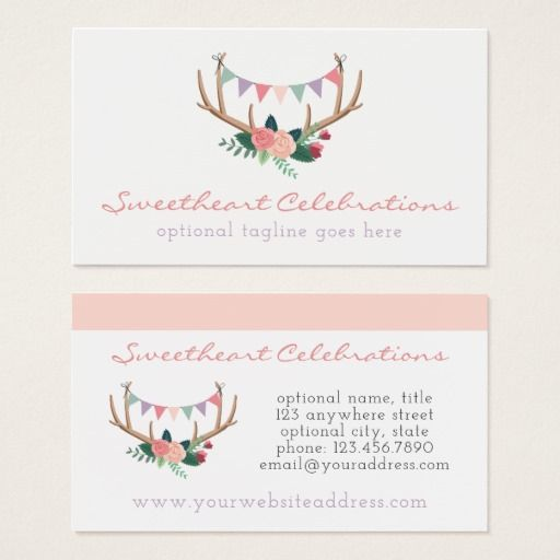 Floral antlers roses party bunting shabby chic party planner floral antlers roses party bunting shabby chic party planner business card by cyanskydesign on colourmoves