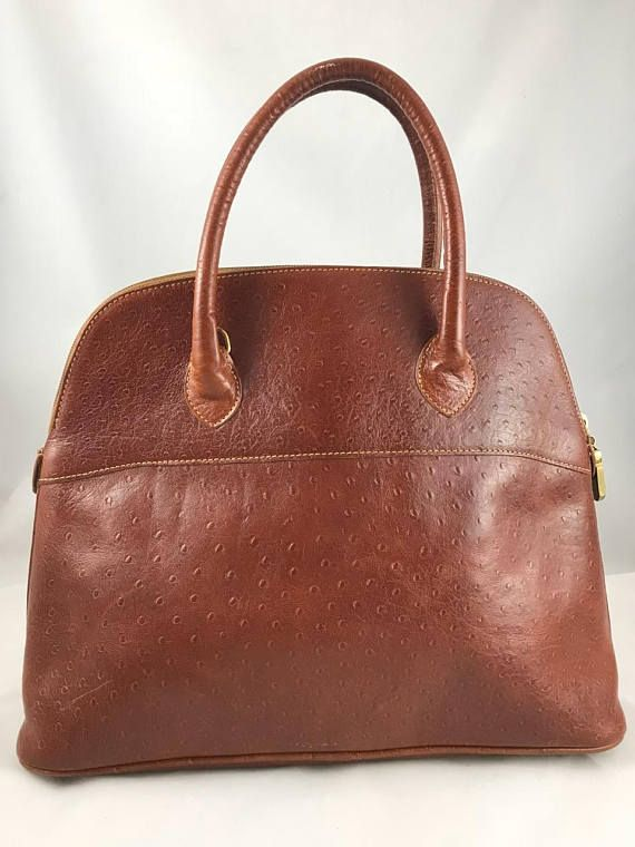 Authentic Vintage Furla Handbag Ostrich Leather  2be1a73e33dae