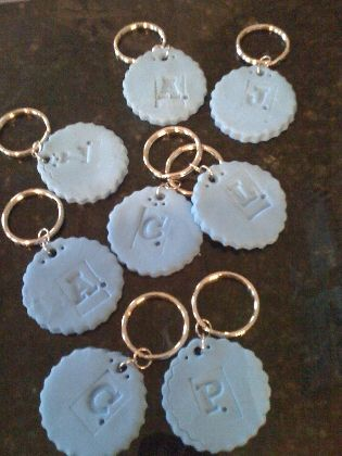 Stamp keychains.  These are pretty simple (geared towards kids), but you could have a ball in the stamp aisle at the craft store.  All those cute stamps, and you always wondered what project would justify their purchase...
