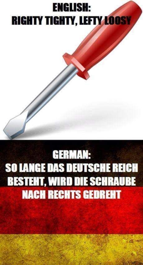 As long as the German Reich exists, the screw is rotated to the right