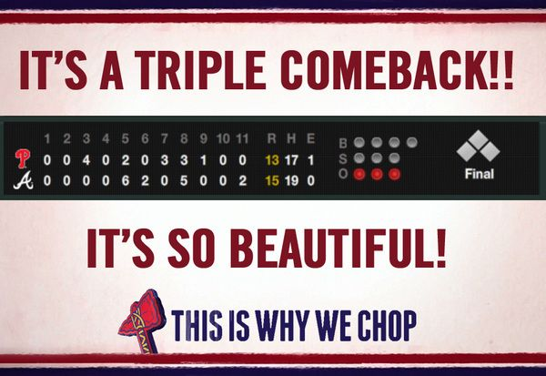 Down 6-0, up 8-6, down 12-8, won 15-13. Can't be many games in history when a team came back from TWO 4-run deficits to win!