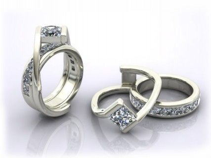 custom interlocking wedding ring and engagement ring omg how amazing - Interlocking Wedding Rings