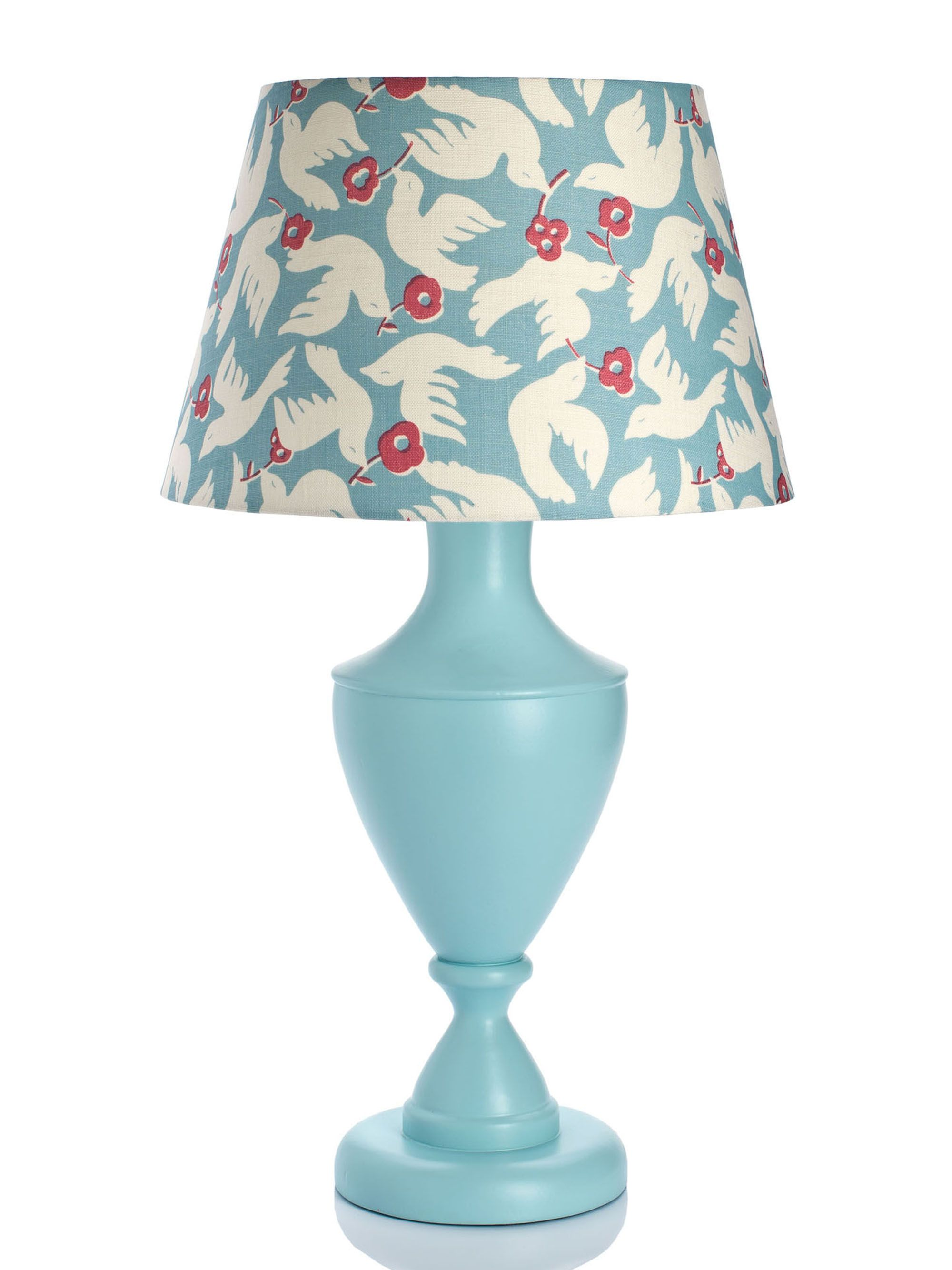 Large Urn Table Lamp In Light Blue With Doves Lampshade