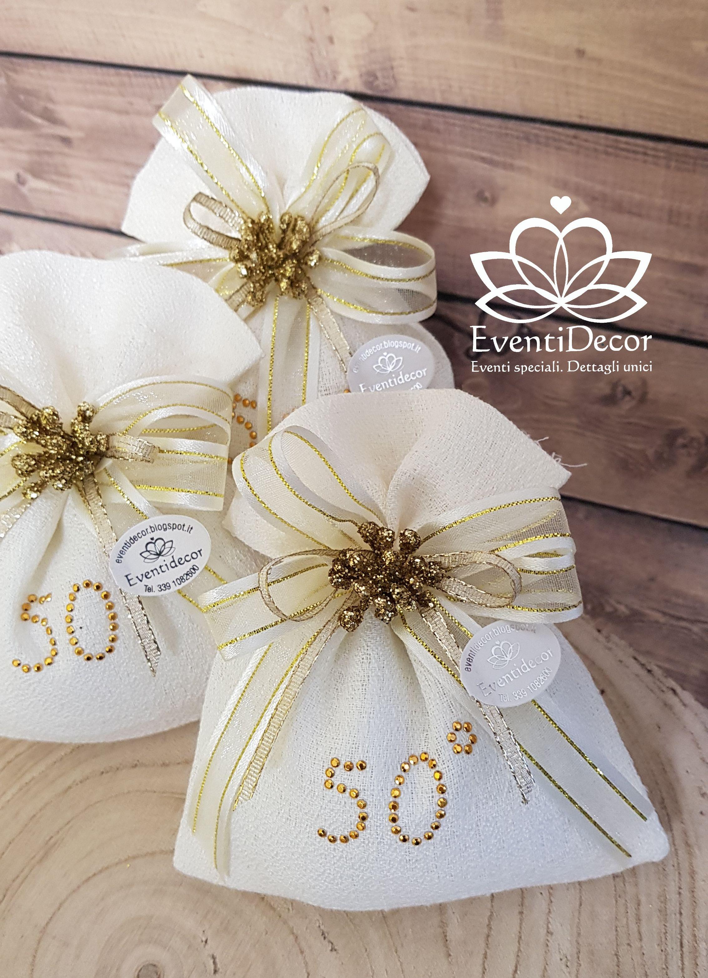 Bomboniera Completa Sacchetto Borchie 50 Nozze D Oro 50 Anniversario Confetti Nel 2020 Nozze D Oro Nozze 50 Anniversario