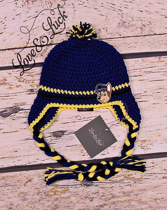 Chase Paw Patrol Police dog Crochet Hat with by ShopLoveandLuck ... d6956b35d291