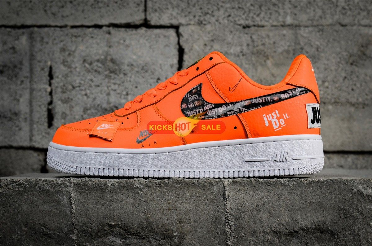 """2018 Nike Air Force 1 Low """"Just Do It"""" Orange 905345 800"""