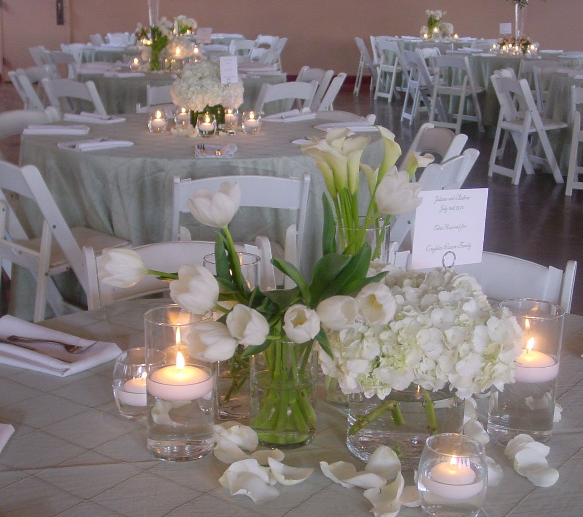 Wedding Centerpieces Ideas Without Flowers: Table Decor With Red Roses And White Tulips Centerpiece