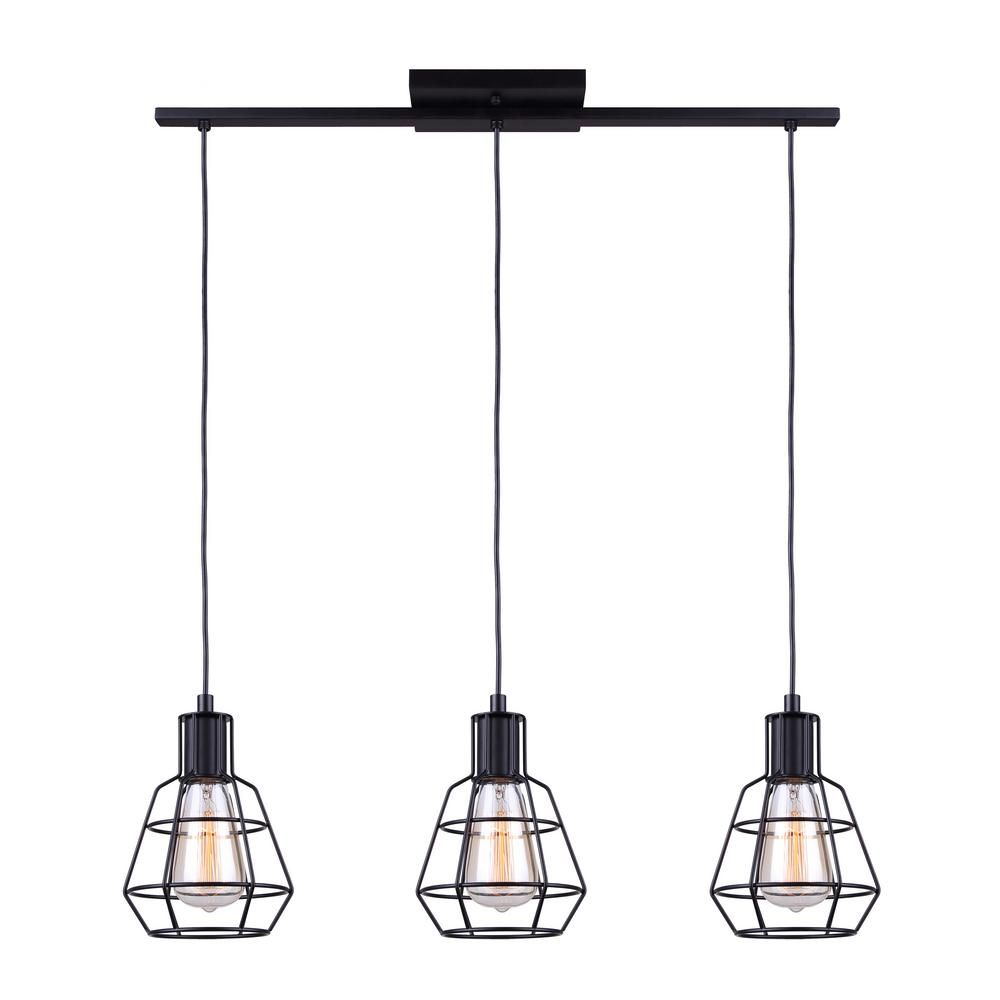 Canarm Wren 3 Light Matte Black Pendant Ipl702a03bk The Home Depot Industrial Light Fixtures 3 Light Pendant Pendant Light Fixtures