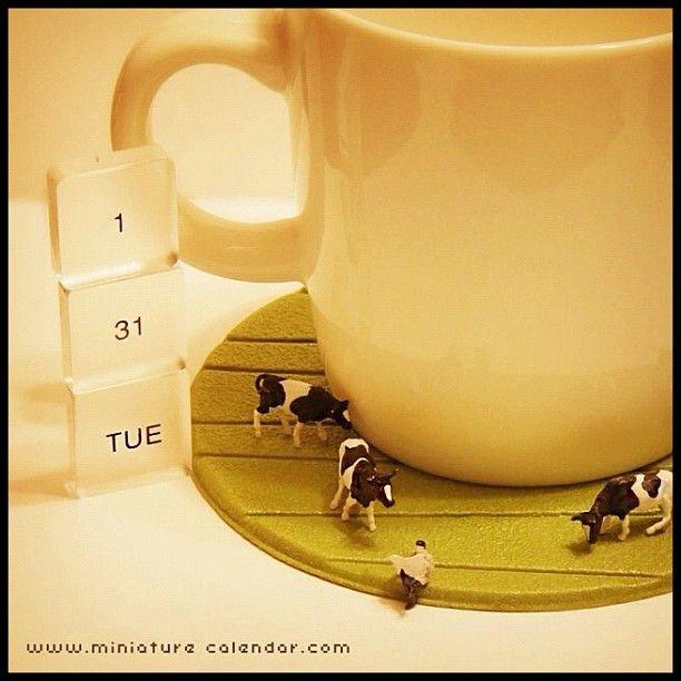 1.31 tue -Coaster Farm- 毎日搾りたての牛乳を飲むために コップの下で牛を飼っています  グッドもぉーニング( ̄▽ ̄)