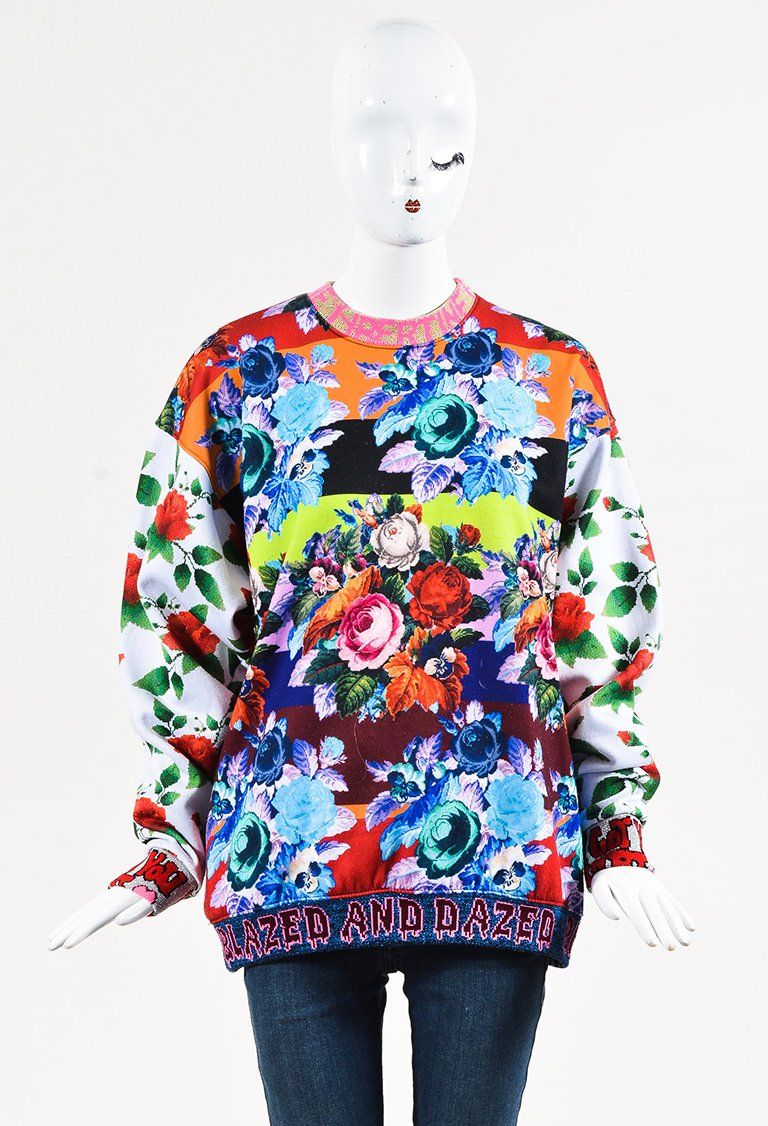 Libertine Multicolor Floral Print Blazed And Dazed Crewneck Sweatshirt Floral Prints Crew Neck Sweatshirt Sweatshirts [ 1126 x 768 Pixel ]