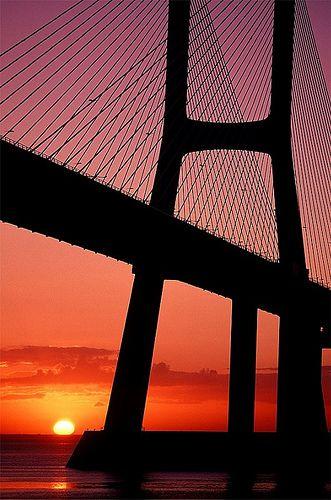 Sunrise in Vasco da Gama Bridge - Tagus river, Portugal  www.liberatingdivineconsciousness.com