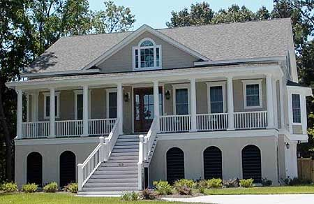 Plan 91003gu raised low country home plan pantry for Low country house plans with porches