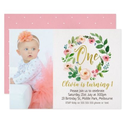 Photo Floral Wreath 1st Birthday Invitation - floral style flower - invitation card for ist birthday