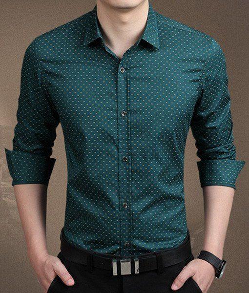 New Casual Mens Clothes Camisas Social Slim Polka Dot Dress Shirts Blue Wine
