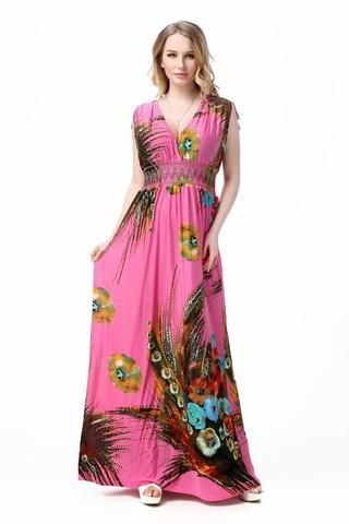 Plus Size Women V Neck Long Dress Ladies Boho Beach Summer Holiday Maxi Sundress