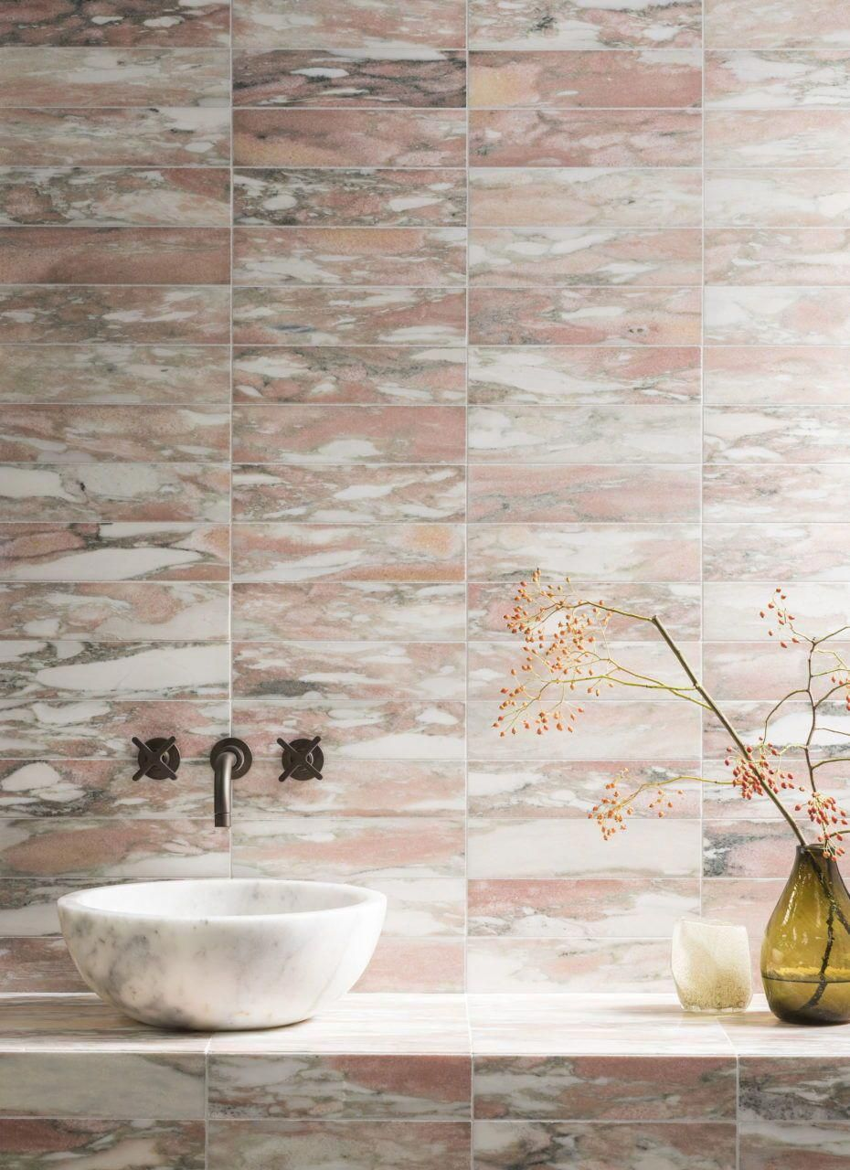 Marble Tiles In Pink And Green Mandarin Stone Planning A Bathroom Renovation Check Out The Latest Trends In Ti In 2020 Tile Trends Honed Marble Honed Marble Tiles