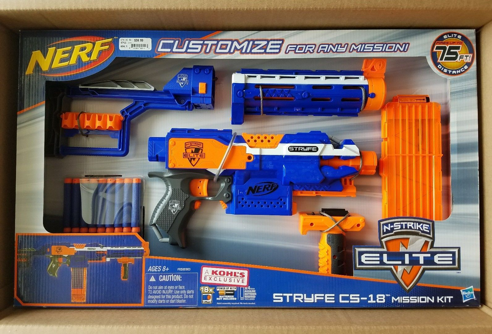 nerf stryfe cs18 mission kit with extra attachments brand