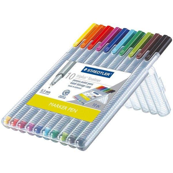 457f1087f4e Staedtler 10ct Black Fine tip Felt tip Marker Pen ($11) ❤ liked on ...