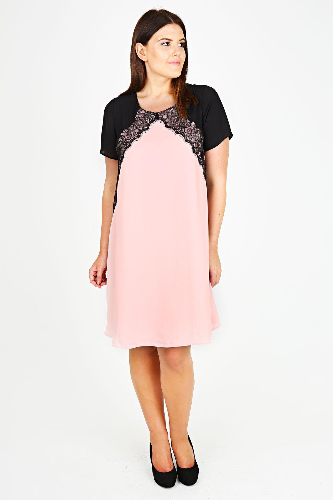 46f9f7b38b0 Pink Chiffon Swing Dress With Black Panels And Lace Trim plus size ...
