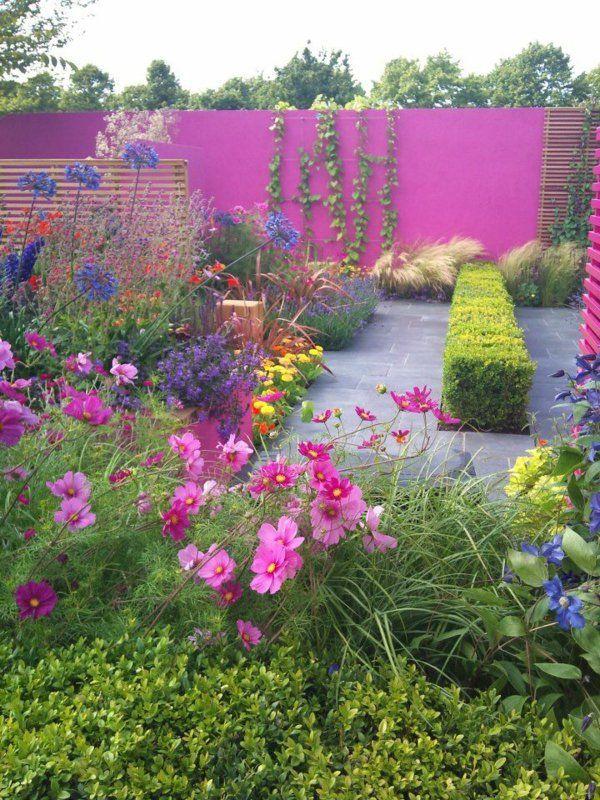 Lieblich Moderne Gartengestaltung Beispiele Farbig Blumen Sichtschutz Rosa