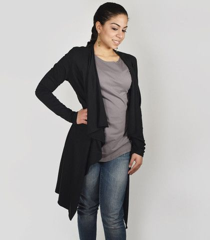 STEPHANIE open duster cardigan in Black