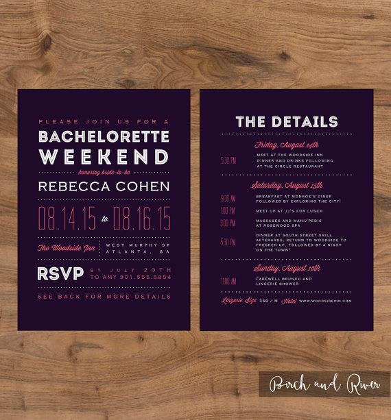 Printable Bachelorette Weekend Invitation and Itinerary colors – Customizable Bachelorette Party Invitations