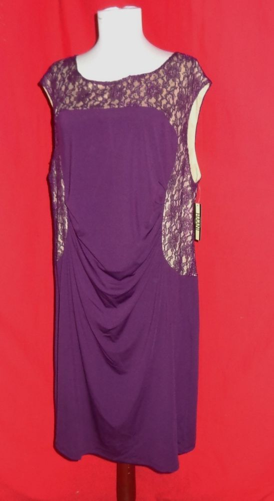 Hanni womans plus size purple/nude bodycon pullover cocktail dress ...